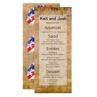 Cartão Declaração do menu patriótico dos EUA da