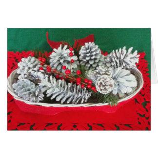 Cartão Decoração do azevinho do cone do pinho