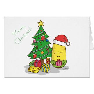 Cartão Decorações bonitos da árvore de Natal do milho