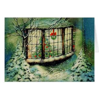 Cartão Decorações da janela do natal vintage