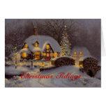 Cartão decorado do Natal da cena da casa