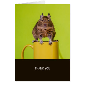 Cartão Degu no obrigado amarelo do copo você