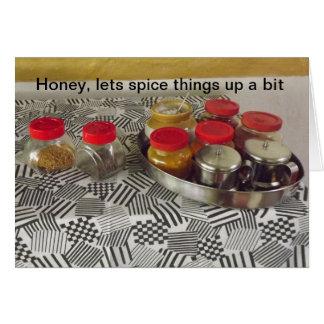 Cartão Deixa coisas da especiaria acima do HUMOR do mel