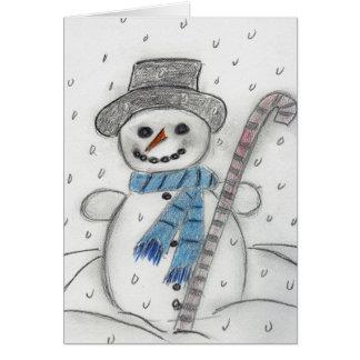 Cartão Deixais lhe para nevar boneco de neve