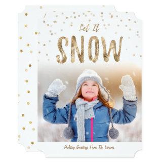 Cartão Deixais lhe para nevar foto Card Gold liso do