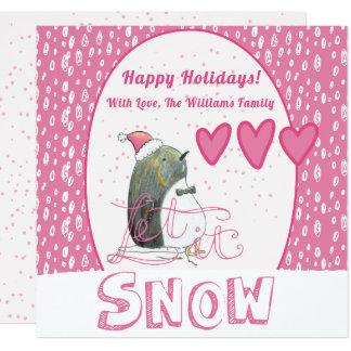 Cartão Deixais lhe para nevar Natal bonito do pinguim de