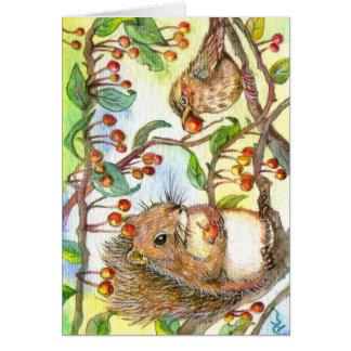 Cartão Deixe-nos compartilhar - esquilo e pardal