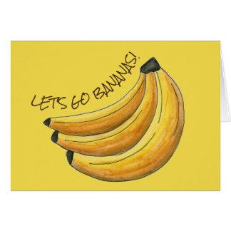 Cartão Deixe-nos ir grupo amarelo Foodie da fruta da
