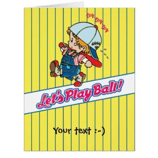 Cartão Deixe-nos jogar a bola! Ilustração retro do miúdo