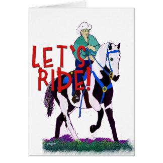 Cartão Deixe-nos montar a coleção lunática do cavalo
