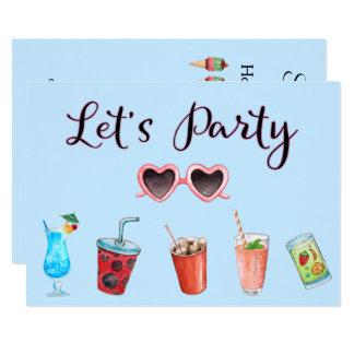 Cartão Deixe-nos Party a reunião do verão
