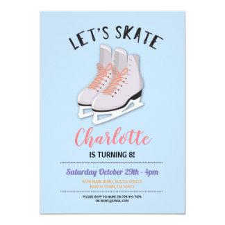 Cartão Deixe-nos patinar festa de aniversário azul do