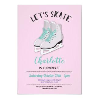 Cartão Deixe-nos patinar festa de aniversário cor-de-rosa