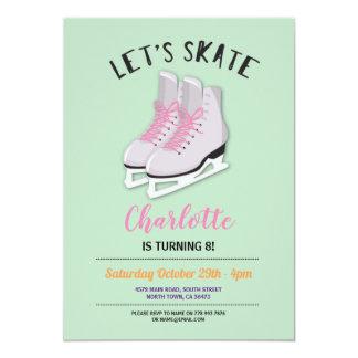 Cartão Deixe-nos patinar festa de aniversário do