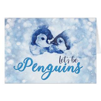 Cartão Deixe-nos ser Natal dos pinguins