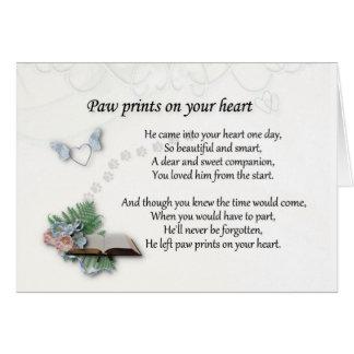 Cartão Deixou pawprints na simpatia do memorial do animal