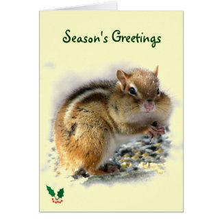 Cartão Deleitando os cumprimentos da estação do Chipmunk