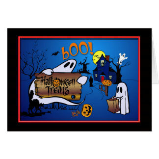 Cartão Deleites do Dia das Bruxas - vaia!