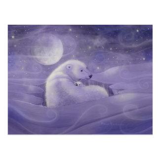 Cartão delicado do urso polar do inverno