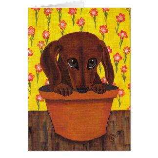 Cartão demasiado bonito do cão do Dachshund