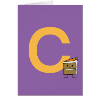 Cartão Dentes do coelho da fatia do bolo de cenoura que