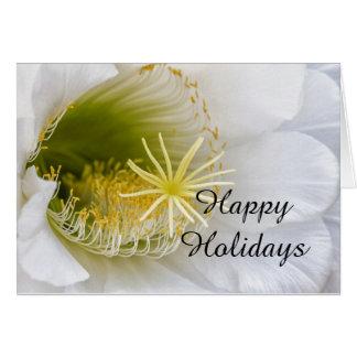 Cartão Dentro de um Echinopsis na flor boas festas