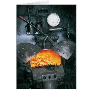 Cartão Dentro do táxi de uma locomotiva de vapor