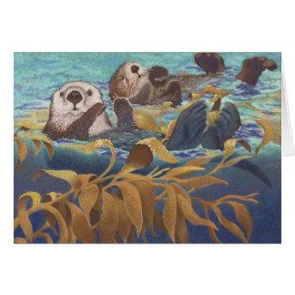 Cartão Depositários das lontras de mar da alga
