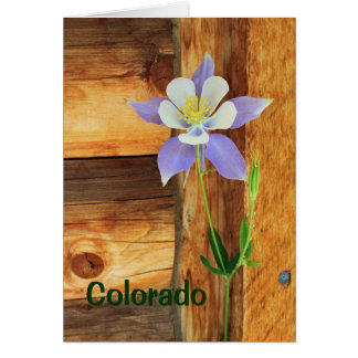 Cartão Desaparecidos aquilégias e de madeira azuis você