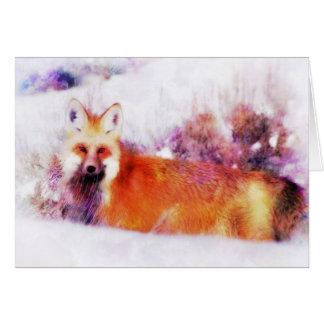 Cartão Descanso do Fox vermelho da aguarela