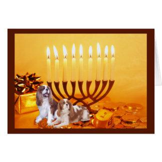 Cartão descuidado Menora de Chanukah do Spaniel de