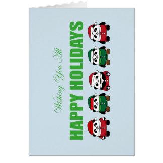 Cartão Desejando lhe todo boas festas pandas