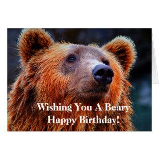 Cartão Desejando lhe um Beary foto do urso do feliz