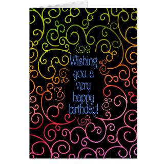 Cartão Desejando lhe um feliz aniversario muito