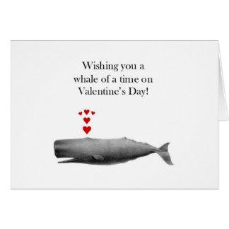 Cartão Desejando lhe uma baleia de um momento no dia dos