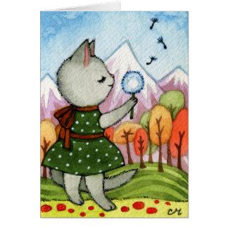 Cartão Desejo - arte lunática do gato
