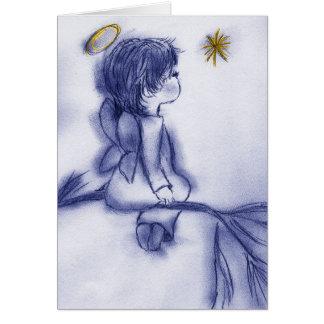 Cartão desejo azul do anjo do matiz