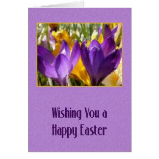Cartão Desejo da páscoa do açafrão