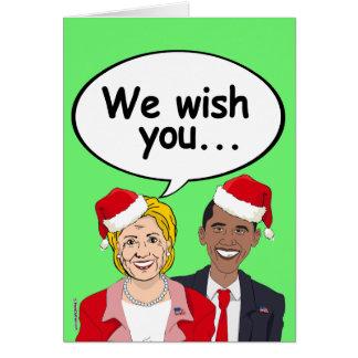 Cartão Desejo de Obama e de Hillary você Ameri-Natal