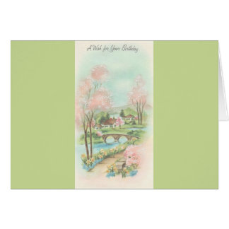 Cartão Desejo do aniversário do prado do primavera do