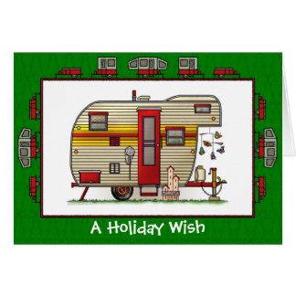 Cartão Desejo do feriado do campista do reboque de