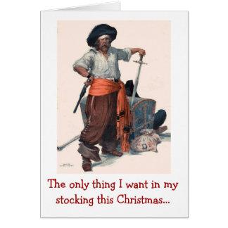 Cartão Desejo do Natal do pirata