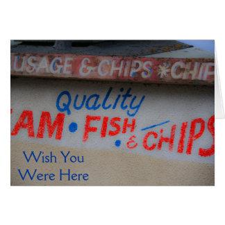Cartão Desejo do sinal do peixe com batatas fritas você