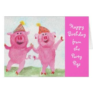 Cartão Desejo dos porcos do partido você feliz