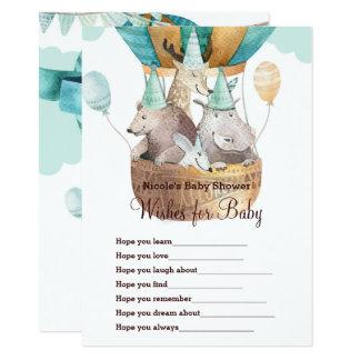 Cartão Desejos animais da aventura para o jogo do chá de