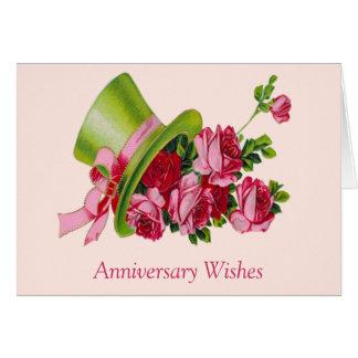 Cartão Desejos, chapéu alto e flores do aniversário
