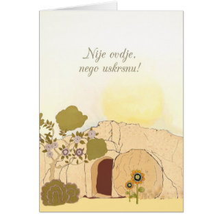 Cartão Desejos cristãos da páscoa no croata (é