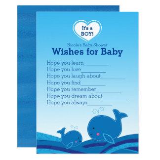 Cartão Desejos das baleias azuis para o jogo do chá de