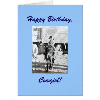 Cartão Desejos do aniversário da vaqueira & do pônei do