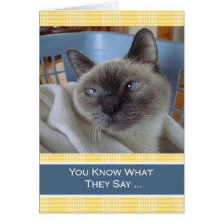 Cartão Desejos do aniversário de Purrfect, gato Siamese